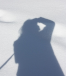 self portrait in shadow and snow