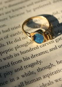 opal ring on book
